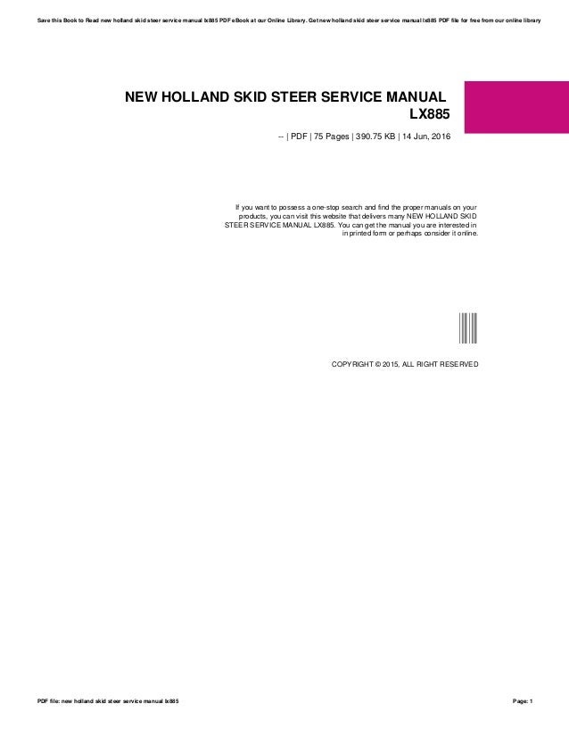 new holland lx885 owners manual